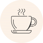 Circular icon with a photo of a steaming coffee cup