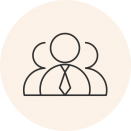 Circular icon with a photo of a business person