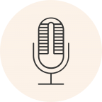 Circular icon with a photo of a microphone