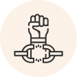 Circular icon with a photo of a fist breaking through a chain