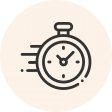 Circular icon with a photo of a stopwatch in forward motion