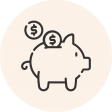 Circular icon with a photo of a piggy bank with coins inserted