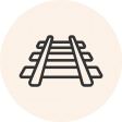 Circular icon with a photo of a railroad track