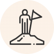 Circular icon with a photo of a person on top of a mountain with a flag